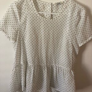 White Polka Dot Peplum Blouse